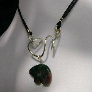 Freeform Silver Wire with Jasper Bear on Satin Cord
