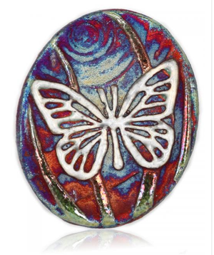 Butterfly Medallion Magnet from Raku Pottery