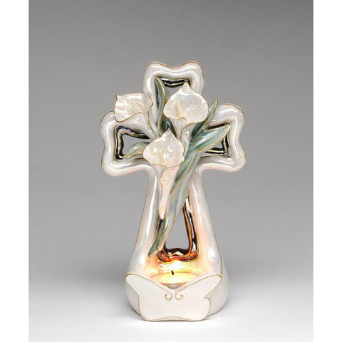 Cala Lily Cross Candle Holder ~ Handcrafted Porcelain Gift