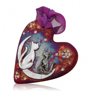 Cats & Moon Holiday Ornament from Raku Pottery