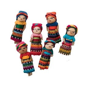 Hand Embroidered Guatemalan Worry Dolls (set of 12)