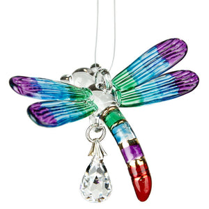 Dragonfly Fantasy Glass Suncatcher in Summer Rainbow