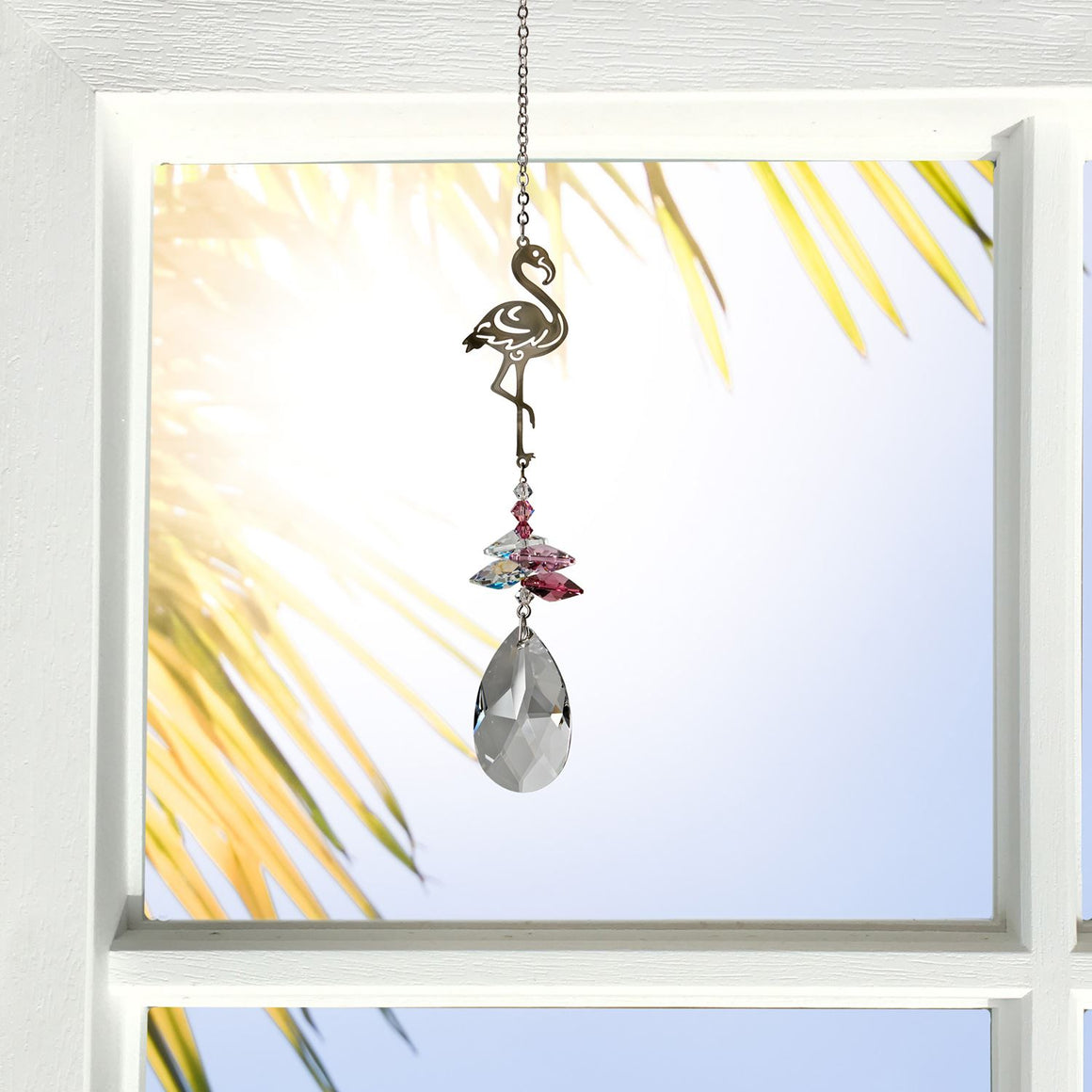 Pink Flamingo ~ Crystal Fantasy Suncatcher