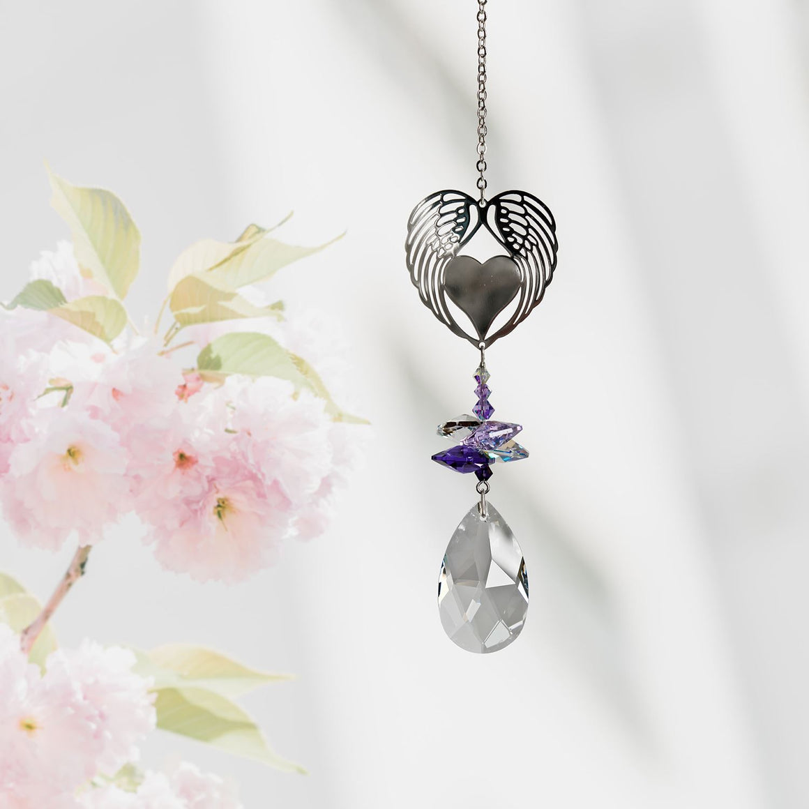 Angel Wing Heart ~ Crystal Fantasy Suncatcher