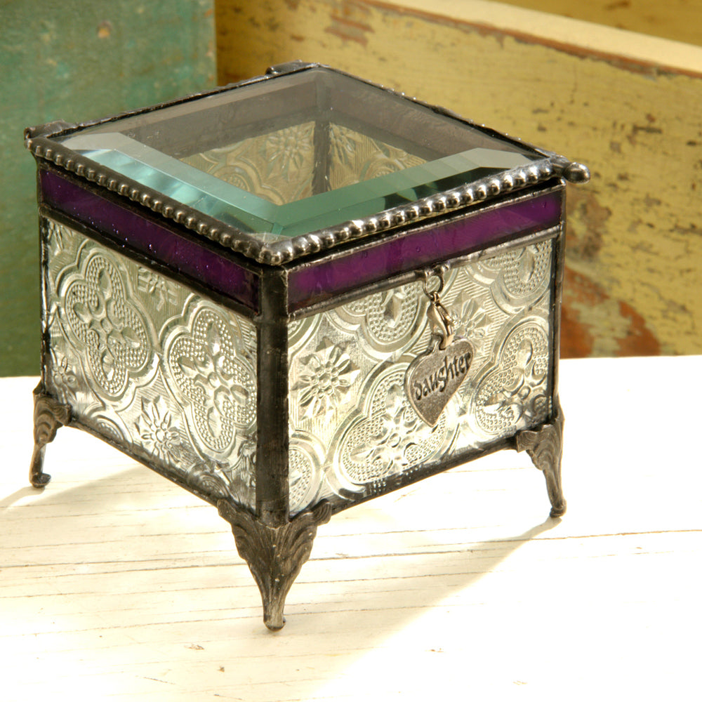 Vintage & Plum Stained English Muffle Glass Trinket Jewelry Box with Charm