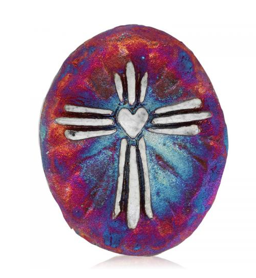 Cross Medallion Magnet from Raku Pottery