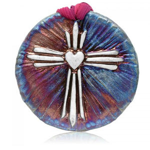 Cross Medallion Ornament from Raku Pottery