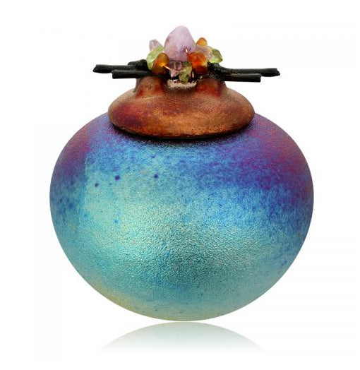 Mini Dreamcatcher Jar with Gemstone Lid from Raku Pottery