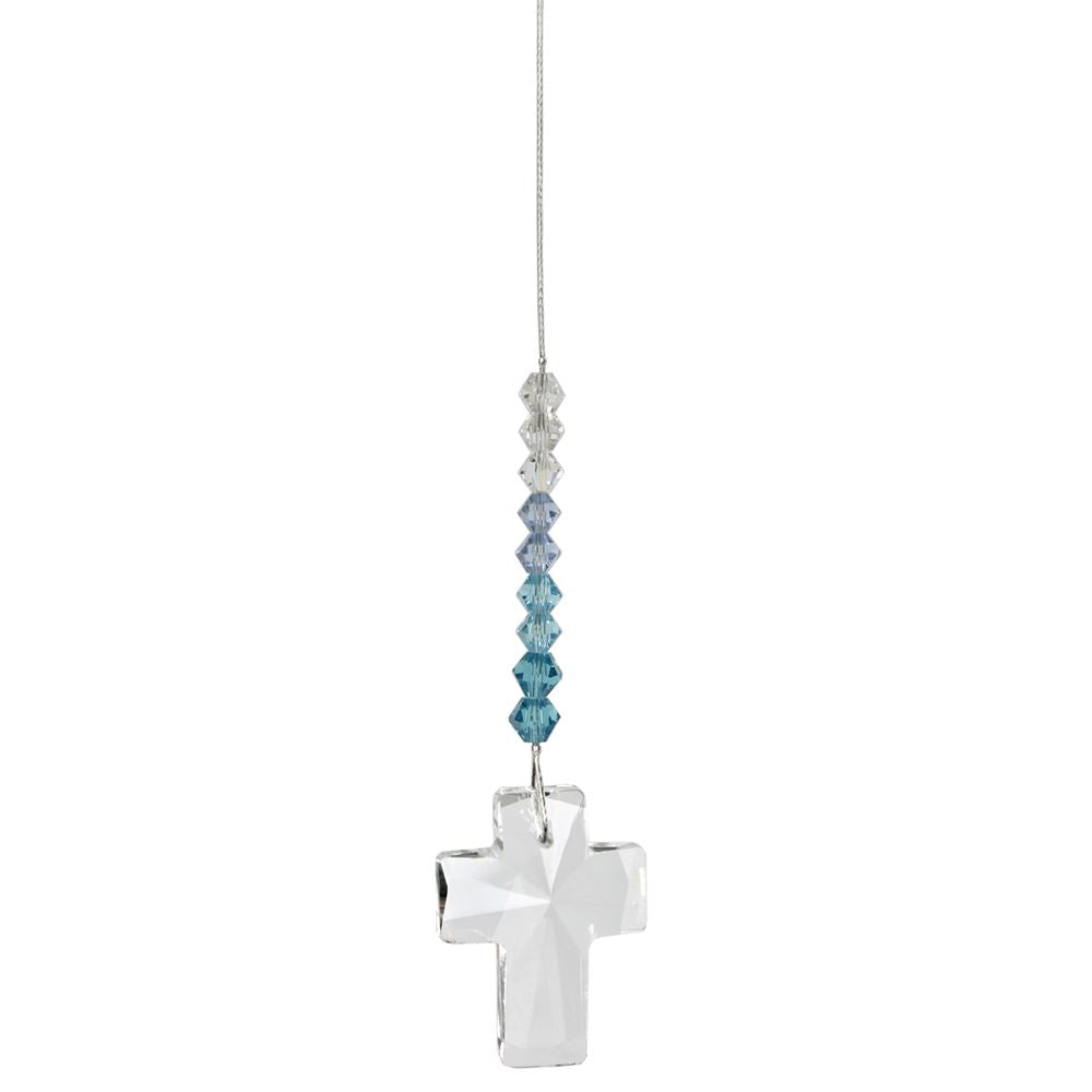 Aquamarine Crystal Cross Suncatcher
