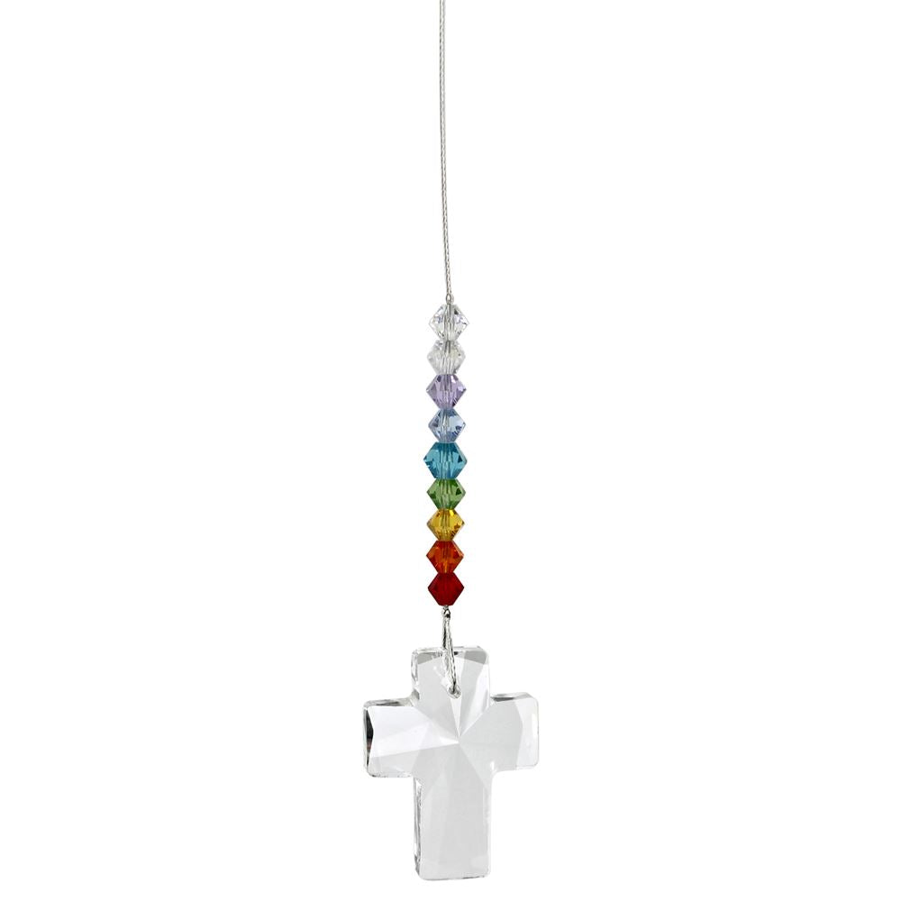 Rainbow Crystal Cross Suncatcher