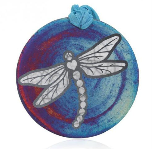 Dragonfly Silhouette Medallion Ornament from Raku Pottery