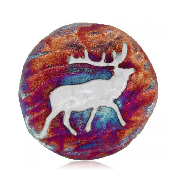 Elk Medallion Magnet from Raku Pottery