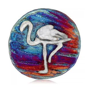 Flamingo Medallion Magnet from Raku Pottery