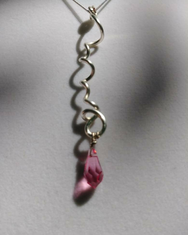 Freeform Silver with Pink Crystal Necklace
