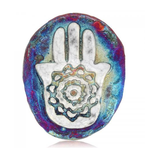 Hamsa Medallion Magnet from Raku Pottery