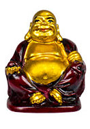 "2"" Gold & Red Buddha Figurines (Safe Travels, Prosperity, Love, Spiritual Journey, Happy Home, and Long Life)"