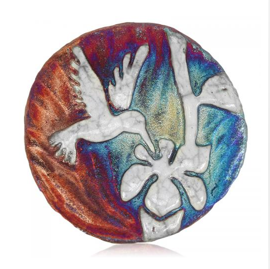 Hummingbird Medallion Magnet from Raku Pottery