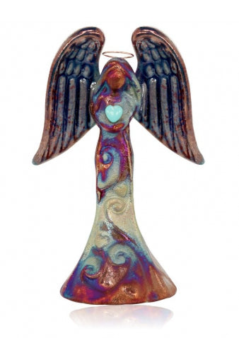 "Angel with Gemstone Heart Handcrafted Ornament (4"") from Raku Pottery"