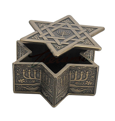 Star Of David With Menorah Trinket Box