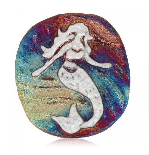 Mermaid Medallion Magnet from Raku Pottery