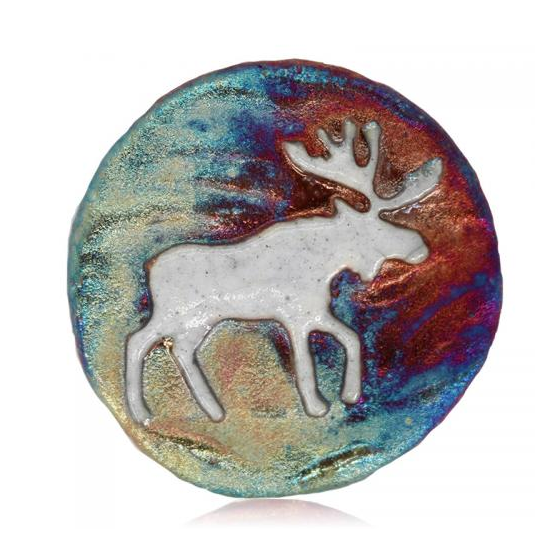 Moose Medallion Magnet from Raku Pottery
