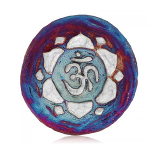 OM Lotus Medallion Magnet from Raku Pottery