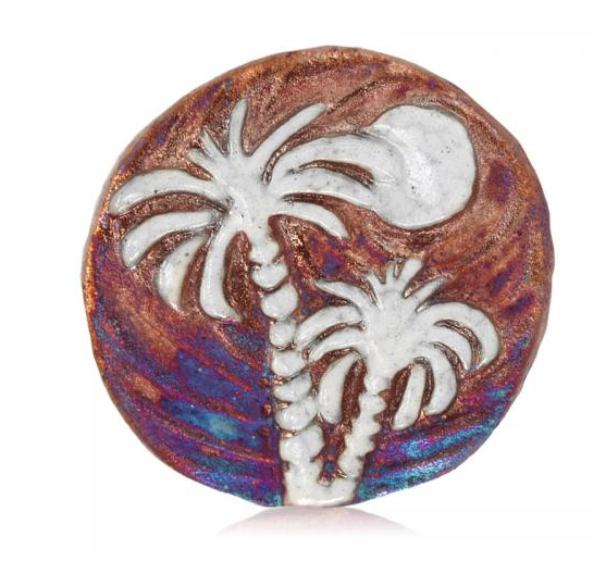 Palm Tree Medallion Magnet from Raku Pottery