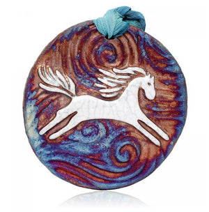 Pony Medallion Ornament from Raku Pottery