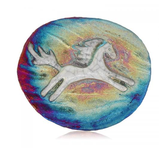 Spirit Pony Medallion Magnet from Raku Pottery