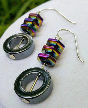 Hematite and Rainbow Hematite Sterling Silver Earrings