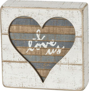 I Love Us Slat Wood Box Sign