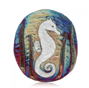 Sea Horse Medallion Magnet from Raku Pottery