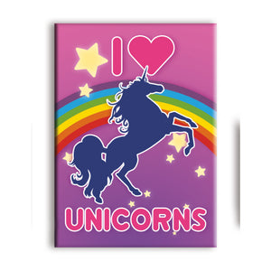 I Love Unicorns Flat Magnet