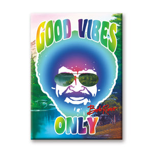Good Vibes Only Bob Ross Flat Magnet