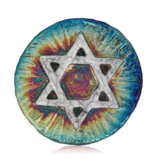 Star of David Medallion Magnet from Raku Pottery
