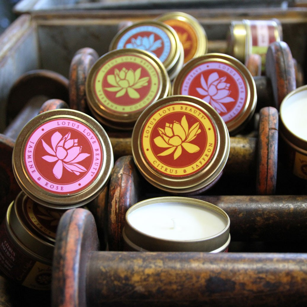 Ayurvedic Soy Tin Travel Candle ~ Lotus Love Beauty