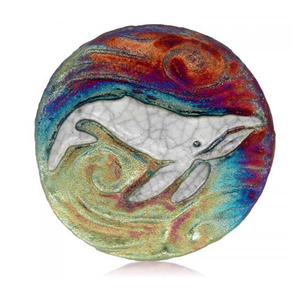 Humpback Whale Medallion Magnet from Raku Pottery