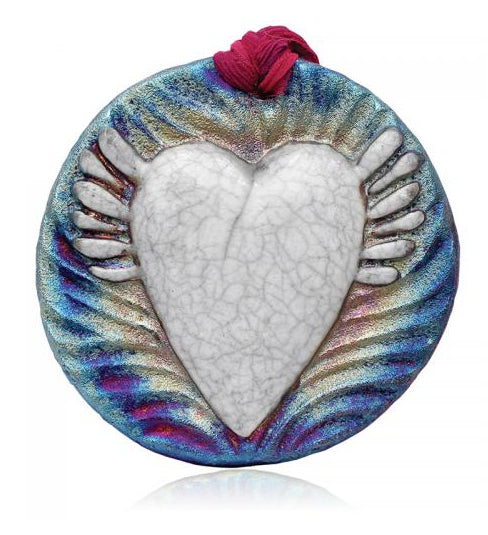 Wing Heart Medallion Ornament from Raku Pottery