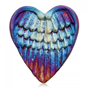 Angel Wings Blessed Heart from Raku Pottery