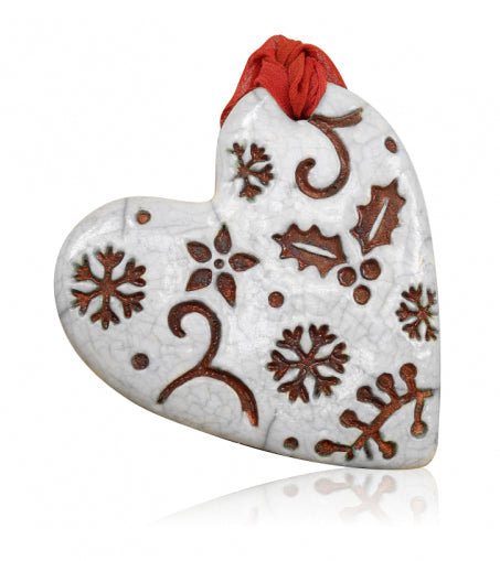 Christmas Heart Crackle Ornament from Raku Pottery