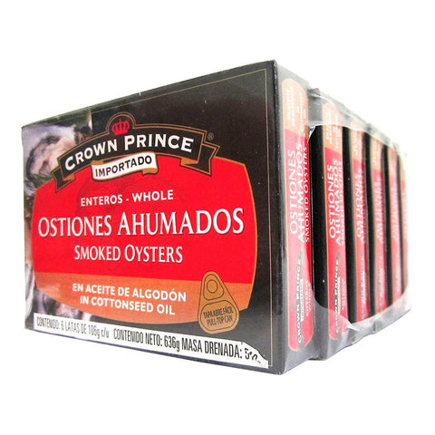Ostiones Ahumados Crown Prince Enteros con 6 piezas de 106 grs - Crown Prince ZK