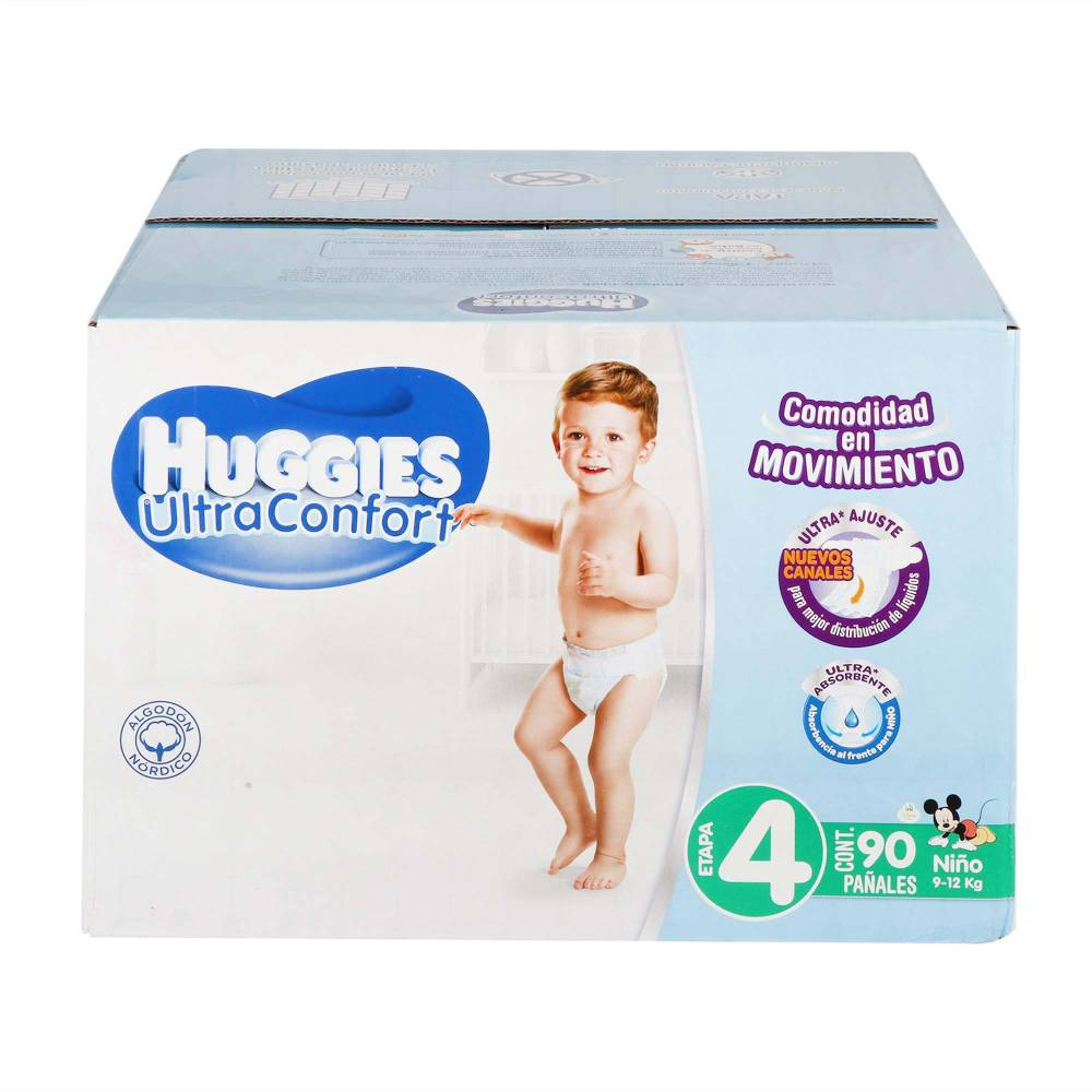 Pañales Etapa 4 Huggies UltraConfort 90P Niño - ZK