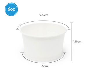 Contenedor para Helado CB 6oz Papel Blanco 50P - Desechable Biodegradable - LK