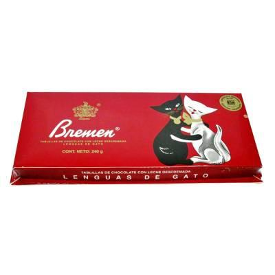 Media Caja Chocolate Bremen Lengua de Gato en 15 Displays de 240gr - Bremen-Chocolates-Bremen-MayoreoTotal