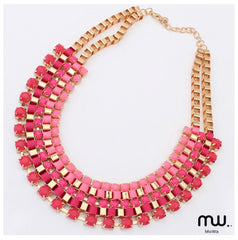 Collar Dorado Mitad Gemstone, liston