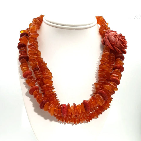 """Renew My Membership"" - Amber  Necklace - 20 inch"