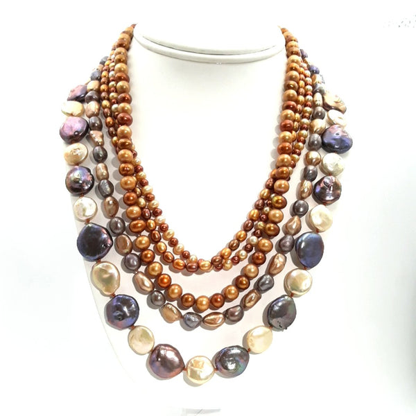 """Rocky Road"" - Pearl Sterling Necklace - 18-20 inch"