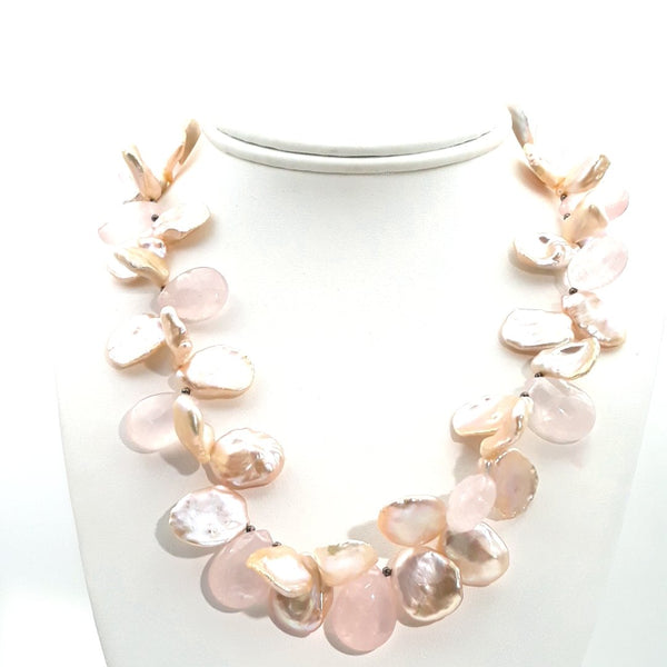 Pearl and Rose Quartz Gold  Necklace  - 18 inch