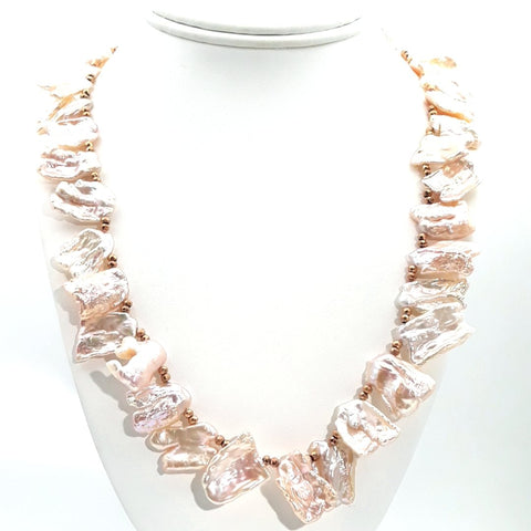 Pearl and Gold Hematite Rose Gold  Necklace  - 20 inch