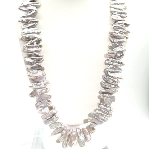 Pearl Sterling Strand Necklace  - 24 inch